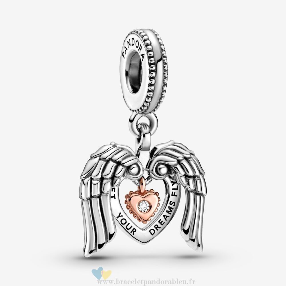 Bon Achat Pandora Pandora Club 2021 Ailes D'Anges & Cœur Dangle Charm