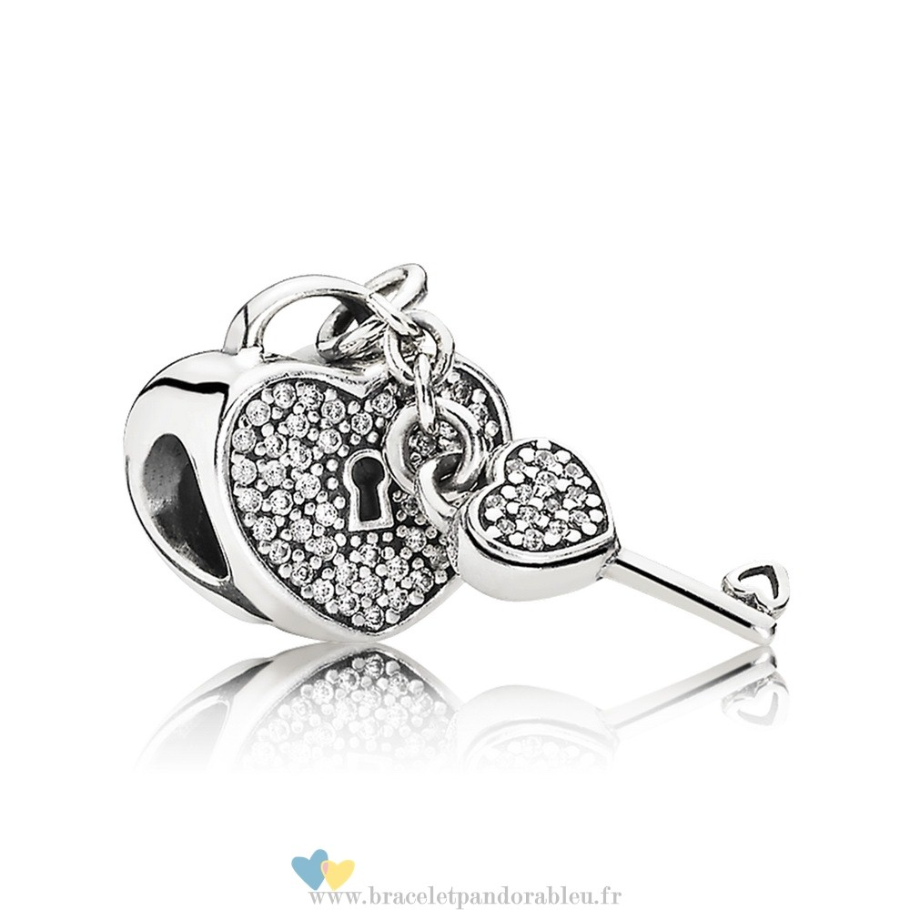 Bon Achat Pandora Symboles De Amour Charms Lock Of Amour Clear Cz