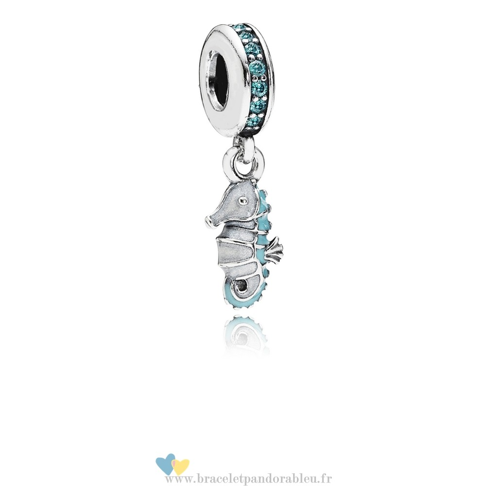 Bon Achat Pandora Pandora Dangle Breloques Tropical Seahorse Dangle Charm Teal Cz Turquoise Email