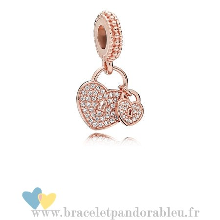 Bon Achat Pandora Pandora Rose Amour Serrures Dangle Charm Clear Cz