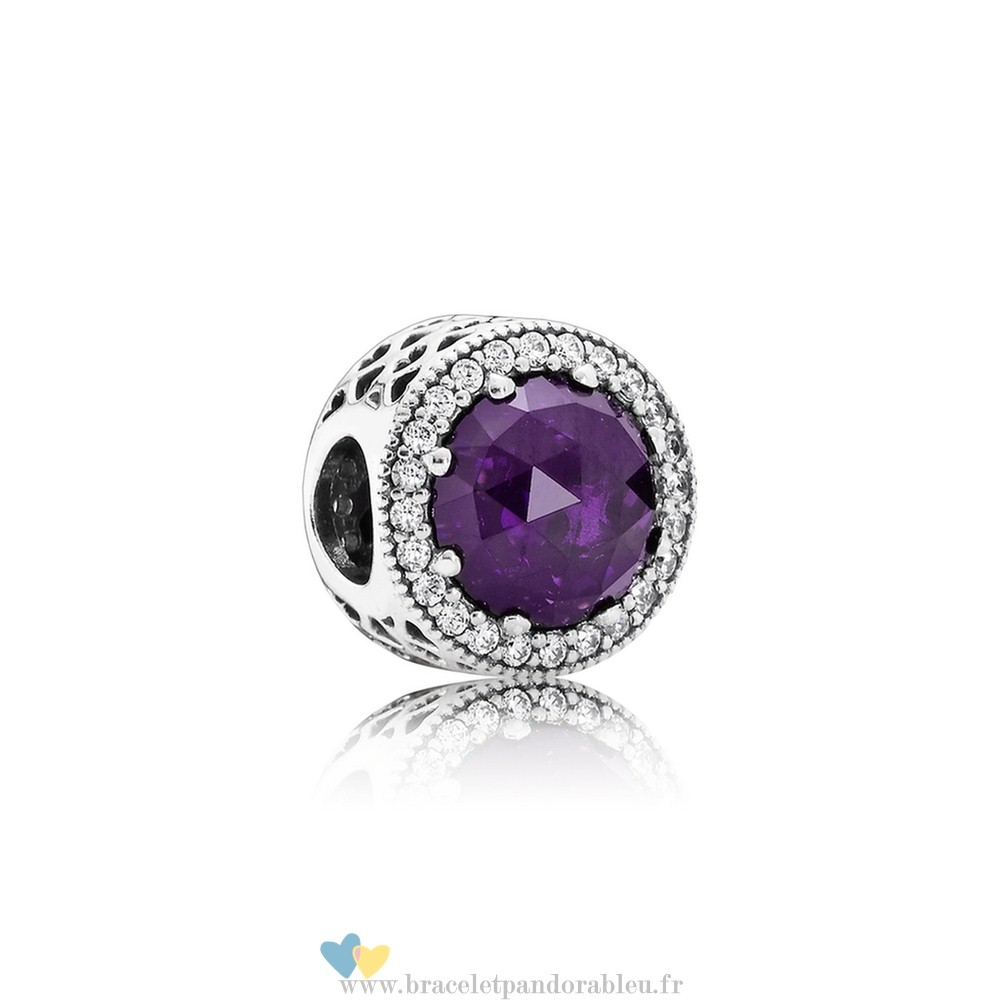 Bon Achat Pandora Collection Coeurs De Radiant Royal Violet Crystal Clear Cz