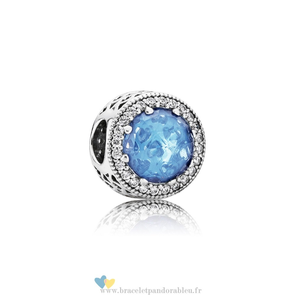 Bon Achat Pandora Collection Coeurs De Radiant Sky Blue Crystal Clear Cz
