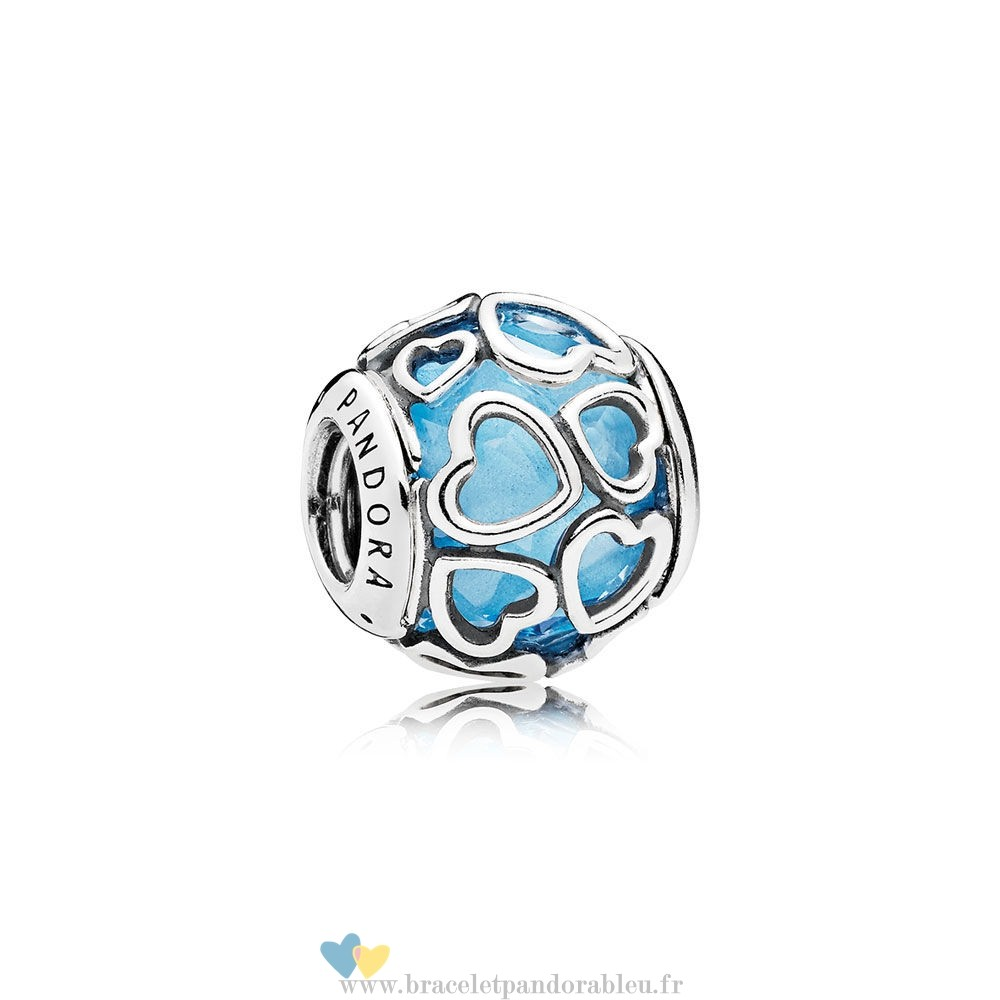 Bon Achat Pandora Pandora Paillettes Paves Charms Encased In Amour Charm Sky Blue Crystal